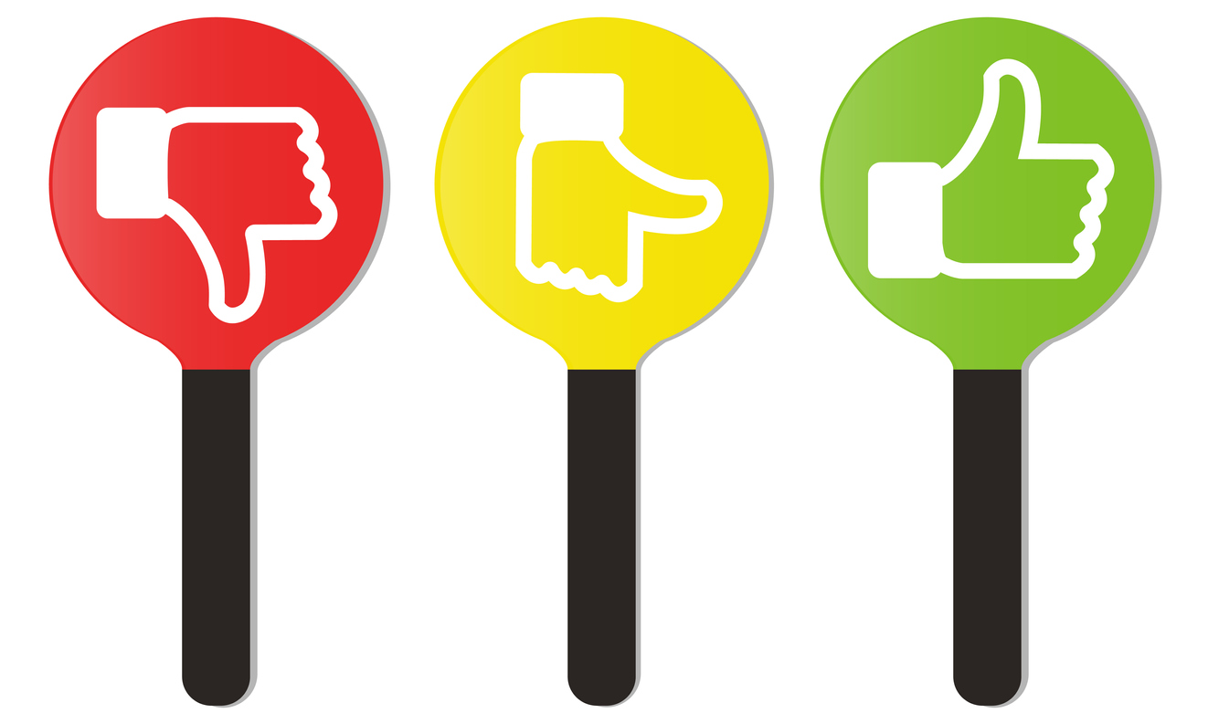 illustration of thumbs down, neutral, and thumbs up scoring