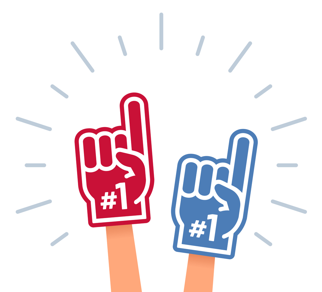 illustration of fans holding up their hands inside of foam number-one fingers